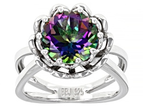 Mystic Fire(R) Green Topaz Rhodium Over Silver Solitaire Ring 3.76ct