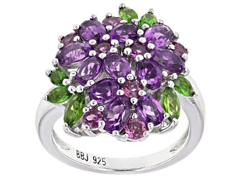 Sterling Silver Rhodolite Garnet Floral Ring
