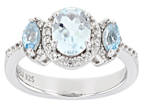 Blue Aquamarine Rhodium Over Silver Ring 1.38ctw