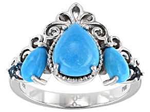 Blue Sleeping Beauty Turquoise Rhodium Over Silver Ring .15ctw