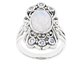 White Rainbow Moonstone Rhodium Over Silver Ring .20ctw