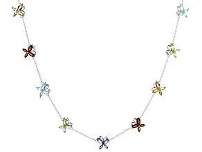 Multi-gemstone Rhodium Over Sterling Silver Butterfly Necklace 4.36ctw