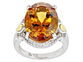 Yellow Citrine Rhodium & 18k Gold Over Silver Ring 9.43ctw