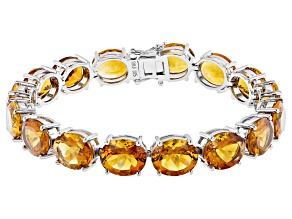 Yellow Citrine Rhodium Over Sterling Silver Tennis Bracelet 44.88ctw