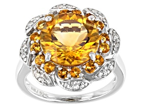 Yellow Citrine Rhodium Over Sterling Silver Ring 4.86ctw