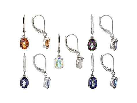 Oval Assorted Mystic Topaz(TM) Rhodium Over Silver Earrings Box Set of 5 Pairs 15.50ctw