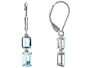 Blue Aquamarine Rhodium Over Silver Earrings 1.36ctw