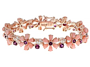 Pink Opal 18k Rose Gold Over Sterling Silver Bracelet 3.62ctw