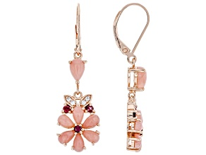 Pink Opal 18k Rose Gold Over Silver Earrings .28ctw