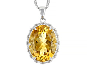 Yellow Citrine Rhodium Over Sterling Silver Pendant With Chain 6.74ct