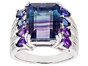 Bi-Color Fluorite Rhodium Over Sterling Silver Ring 7.39ctw
