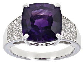 Purple amethyst rhodium over sterling silver ring 4.09ctw