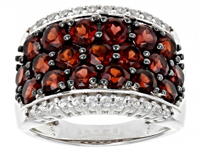 Red Garnet rhodium over sterling silver ring 4.01ctw