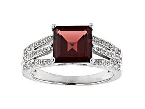 Red Garnet Rhodium Over Sterling Silver Ring 2.95ctw