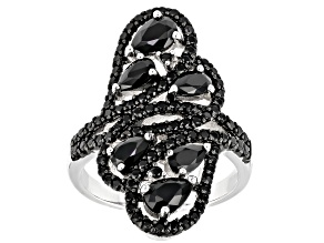 Black Spinel Rhodium Over Sterling Silver Ring 2.49ctw