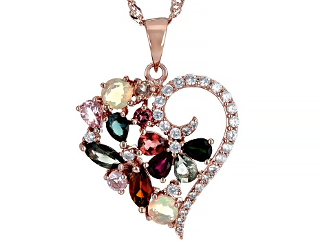Multi-Tourmaline 18k Gold Over Silver Pendant With Chain 2.10ctw