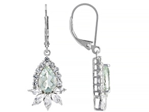Green Parasiolite Rhodium Over Silver Earrings 4.08ctw