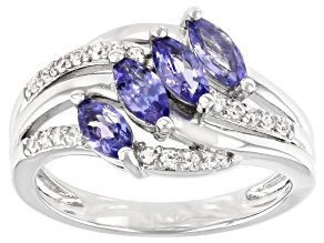 Blue Tanzanite Rhodium Over Sterling Silver Ring 1.13ctw