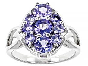 Blue Tanzanite Rhodium Over Sterling Silver Cluster Ring 2.01ctw