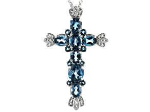 Blue Topaz Rhodium Over Silver Cross Pendant With Chain 8.76ctw