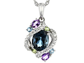 Blue topaz rhodium over sterling silver pendant with chain 2.67ctw.