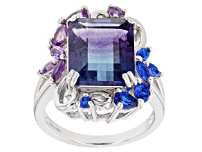 Bi-color Fluorite Rhodium Over Silver Ring 7.19ctw