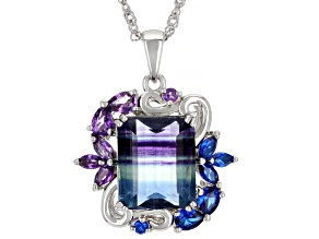 Bi-Color Fluorite Rhodium Over Silver Pendant With Chain 7.90ctw