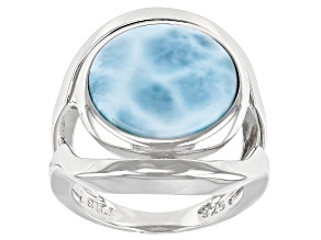 "Blue larimar Rhodium Over Sterling Silver ""Spinner"" Ring"