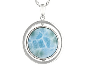 Blue Larimar Rhodium Over Silver Reversible Pendant With Chain