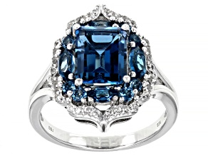 Blue Topaz Rhodium Over Sterling Silver Ring 3.67ctw