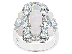 Multi-Color Ethiopian Opal Rhodium Over Sterling Silver Ring 3.92ctw