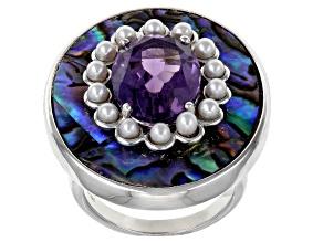 Purple Amethyst Rhodium Over Silver Ring 4.89ct