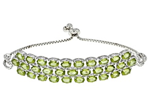 Green Peridot Rhodium Over Sterling Silver Bracelet 13.33ctw