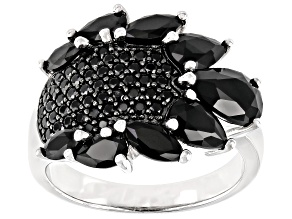 Black Spinel Rhodium Over Sterling Silver Ring 3.10ctw