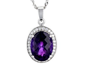 Purple Amethyst Rhodium Over Silver Pendant With Chain 8.53ctw