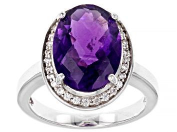Picture of Purple Amethyst Rhodium Over Sterling Silver Ring 5.20ctw
