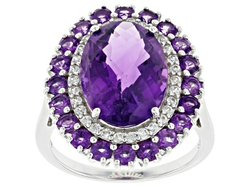 Picture of Purple Amethyst Rhodium Over Sterling Silver Ring 6.08ctw