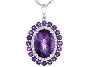 Purple Amethyst Rhodium Over Silver Pendant With Chain 6.08ctw