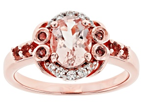 Pink Morganite 18k Rose Gold Over Silver Ring 1.34ctw