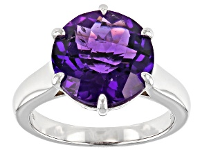 Purple Amethyst Rhodium Over Sterling Silver Solitaire Ring 5.19ct