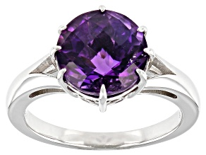 Purple African Amethyst Rhodium Over Sterling Silver Solitaire Ring 3.08ct