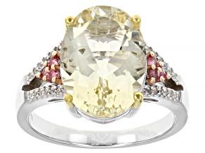 Yellow Labradorite Rhodium Over Silver Two-Tone Ring 3.75ctw
