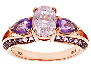 Pink Kunzite 18k Rose Gold Over Sterling Silver Ring 2.44ctw
