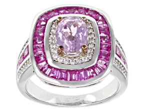 Pink Kunzite Rhodium Over Sterling Silver Ring 2.92ctw