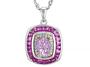 Pink Kunzite Rhodium Over Sterling Silver Pendant With Chain 2.55ctw