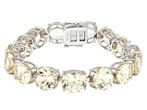 Yellow Labradorite Rhodium Over Silver Bracelet 56.03ctw