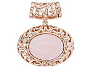 Pink Opal 18k Rose Gold Over Silver Solitaire Slide Pendant