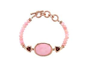 Pink Opal 18k Rose Gold Over Sterling Silver Bracelet 1.54ctw