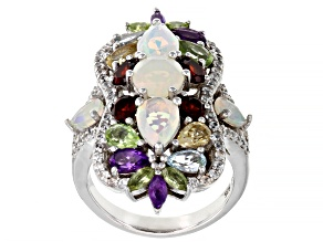 Multi-Color Ethiopian Opal Rhodium Over Silver Ring 4.56ctw