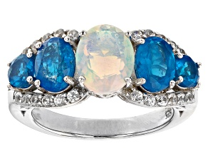 Multicolor Ethiopian Opal Rhodium Over Sterling Silver Ring 2.83cctw